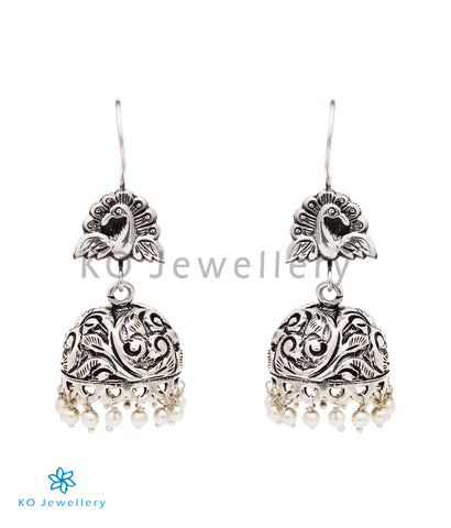 The Malhar Silver Peacock Jhumka