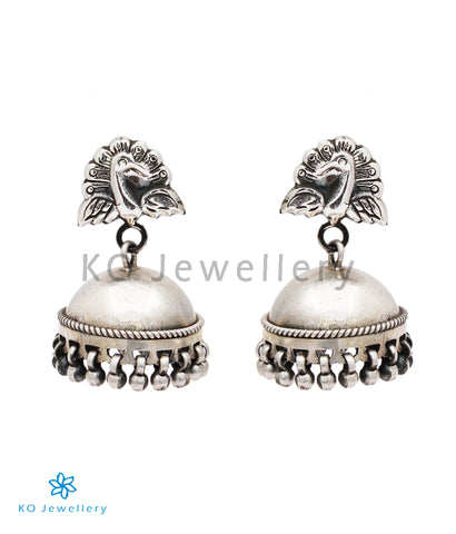 The Barha Silver Peacock Jhumka(Push/Oxidised)