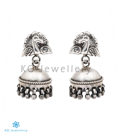 The Barha Silver Peacock Jhumka (Small/Push/Oxidised)