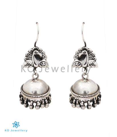 The Barha Silver Peacock Jhumka (Small/Hook/Oxidised)
