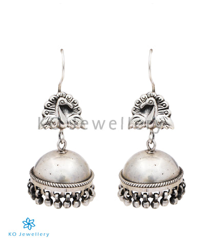 The Barha Silver Peacock Jhumka(Hook/Oxidised)