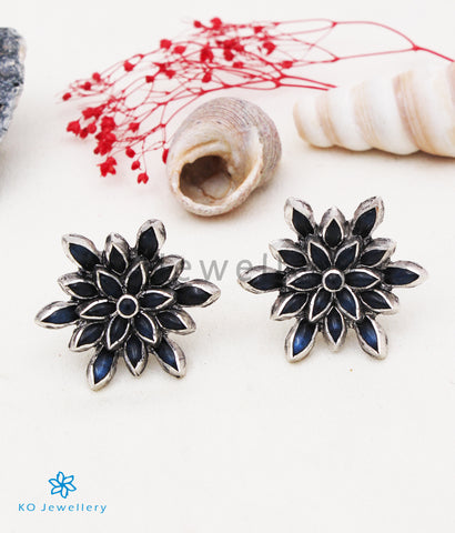 The Padma Silver Lotus Ear-studs (Blue/Oxidised)