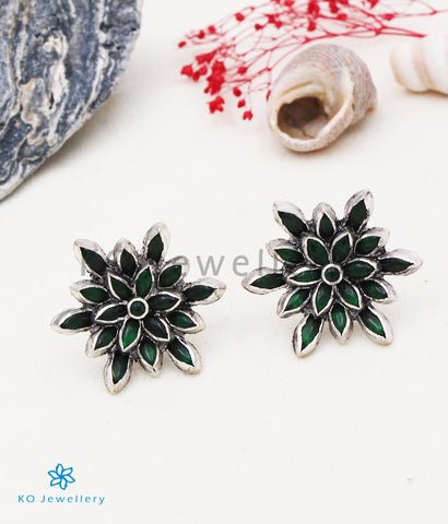 The Padma Silver Lotus Ear-studs (Green/Oxidised)