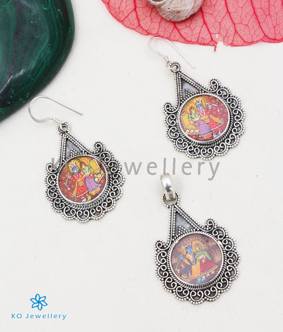 The Silver Handpainted Krishna Pendant/Earrings