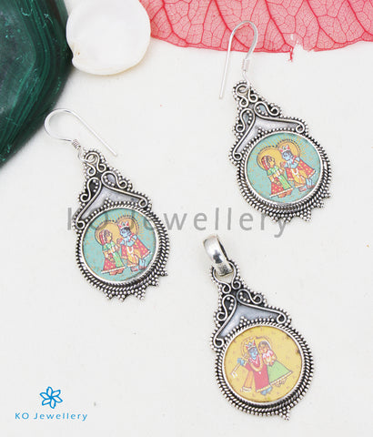 The Silver Handpainted Govardana Pendant/Earrings