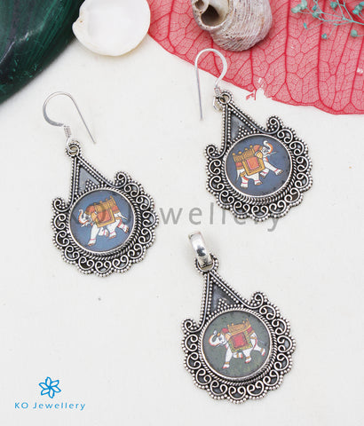 The Silver Handpainted Gajaraja Pendant/Earrings