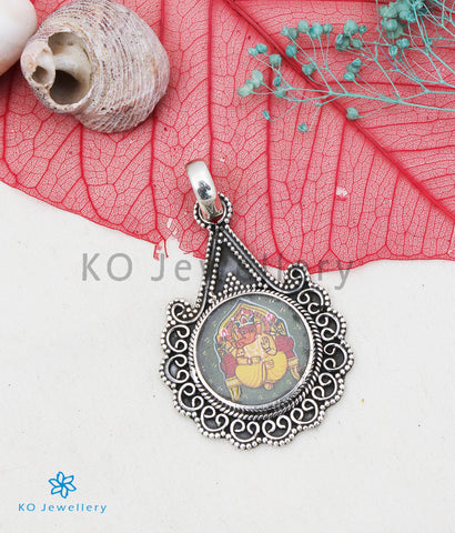 The Silver Handpainted Gajendra Pendant/Earrings
