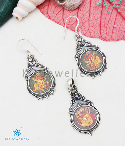 The Silver Handpainted Ganesha Pendant/Earrings