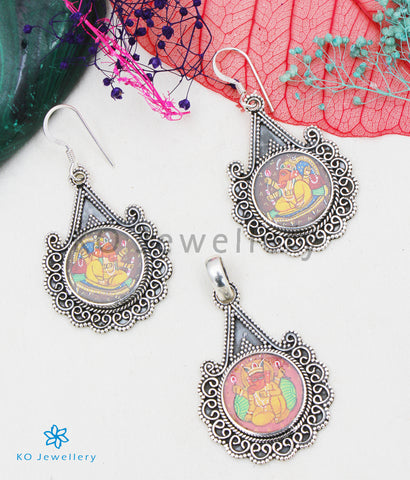 The Silver Handpainted Mukthika Pendant/Earrings