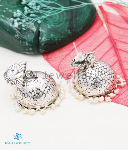 The Ritu Silver Peacock Jhumka