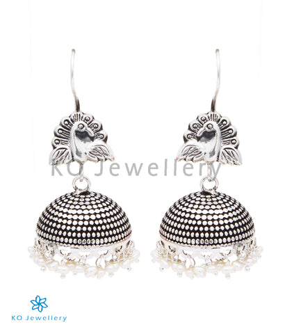The Megh Silver Peacock Jhumka