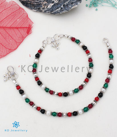 The Colourful Gemstone Silver Anklets (Kids) - KO Jewellery