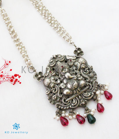 The Vignesh Silver Layered Pearl Ganesha Necklace