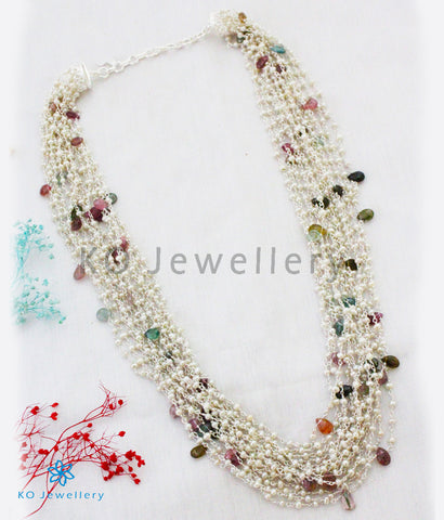 The Meghaduta Silver Layered Pearl/Tourmaline Necklace