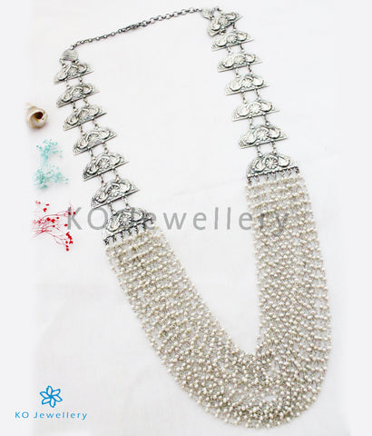 The Kira Silver Layered Parrot Pearl Necklace