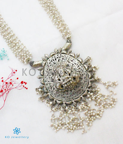 The Shuchi Silver Layered Pearl Lakshmi Necklace