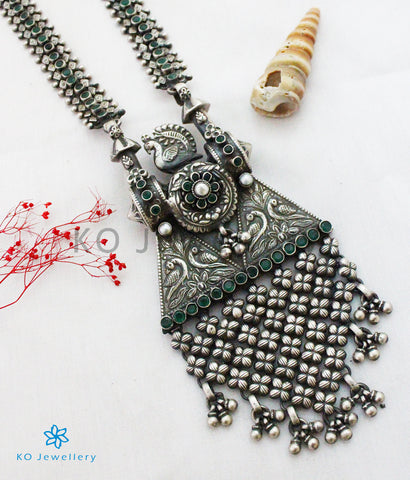 The Vismaya Antique Silver Peacock Necklace