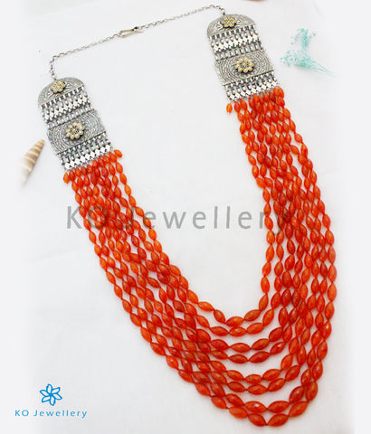 The Silver Carnelian Beads Necklace