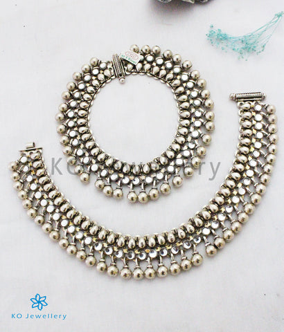 The Malhar Bridal Silver Anklets