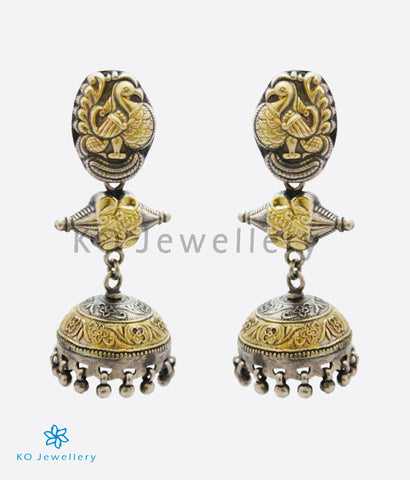 The Aamod Silver Peacock Jhumka (Two-tone)