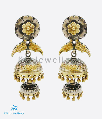 The Pratha Silver Parrot Jhumka (Two-tone)