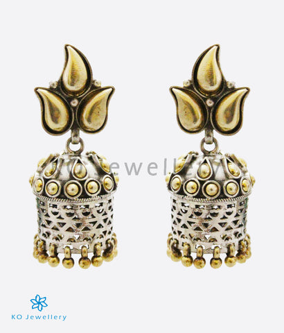 The Peepul Silver Jhumka (Two-tone)