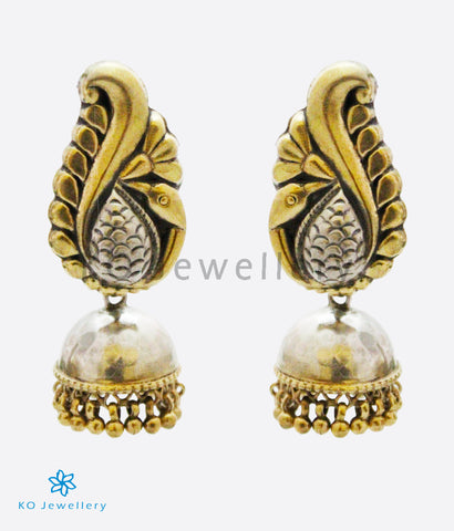 The Alaka Silver Peacock Jhumka (Two-tone)