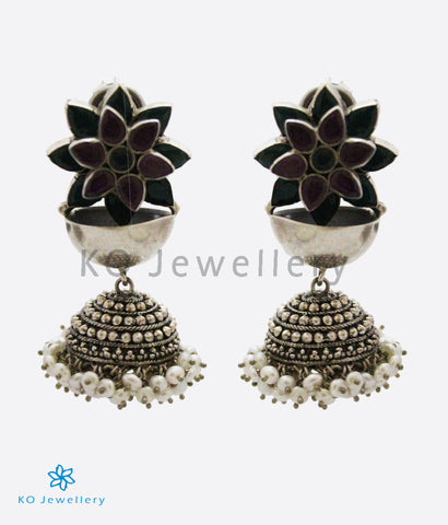 The Mahira Silver Gemstone Jhumka(Red)