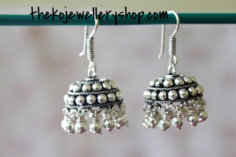 The Jhilmil Silver Jhumka - KO Jewellery