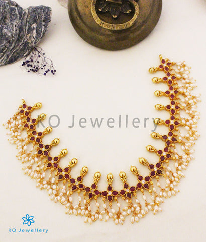 The Shriya Silver Pearl Necklace (Red)