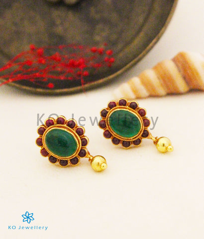 The Siya Silver Earstuds (Red/Green)