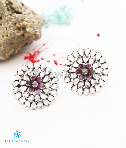 The Farmaish Silver Polki Earrings
