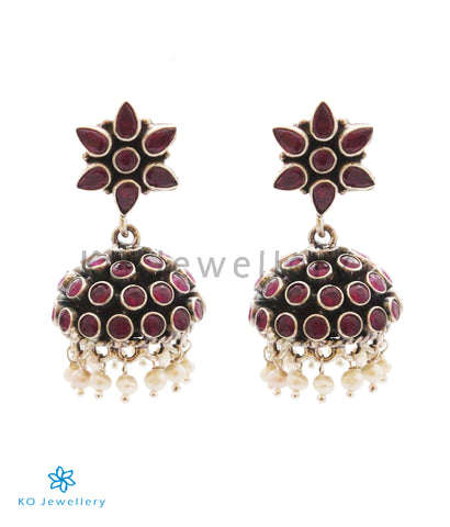 The Tvam Silver Gemstone Jhumka