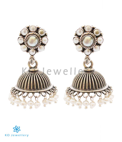The Parth Silver Jhumka(Pearl)