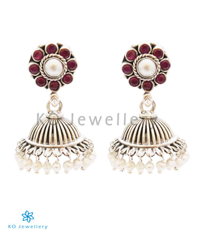 The Parth Silver Jhumka(Red)