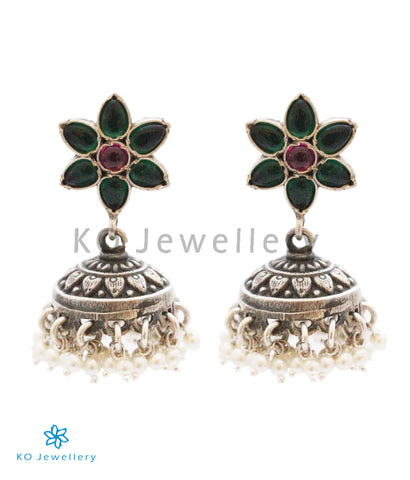The Suravi Silver Gemstone Jhumka