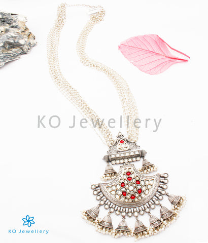 The Purba Antique Silver Kundan Pearl Necklace