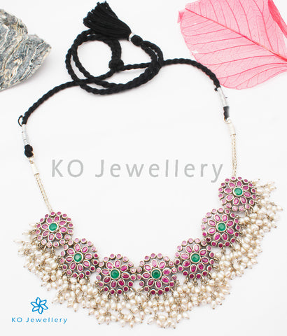 The Poorvi Silver Kempu Necklace (Red)