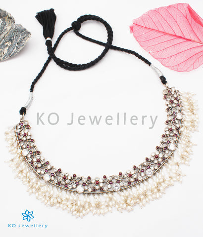 The Pushpita Silver Kempu Necklace