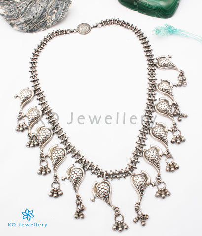 The Zikhin Antique Silver Peacock Necklace