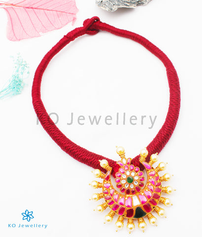 The Nazm Silver Jadau Necklace (Red)