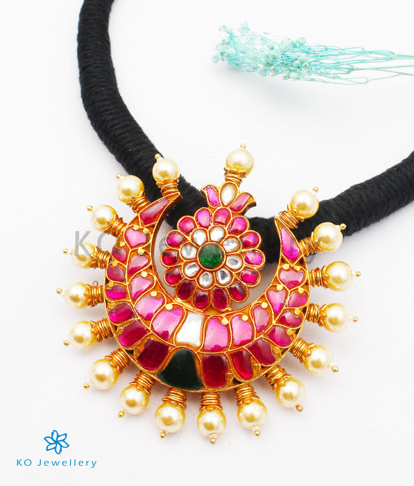The Nazm Silver Jadau Necklace (Black)