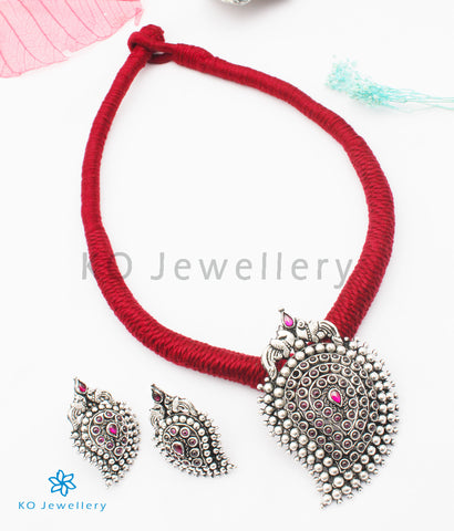 The Prashanti Silver Paisley Necklace (Red)