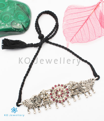 The Dhanya Silver Lakshmi Choker Necklace/ Vanki (Oxidised)