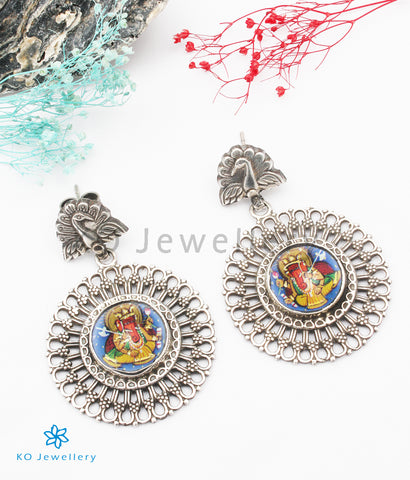 The Bhupati Silver Hand painted Ganesha Earrings