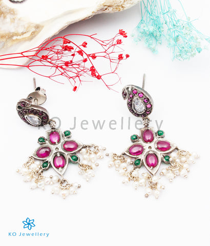 The Chaiti Silver Peacock Earrings