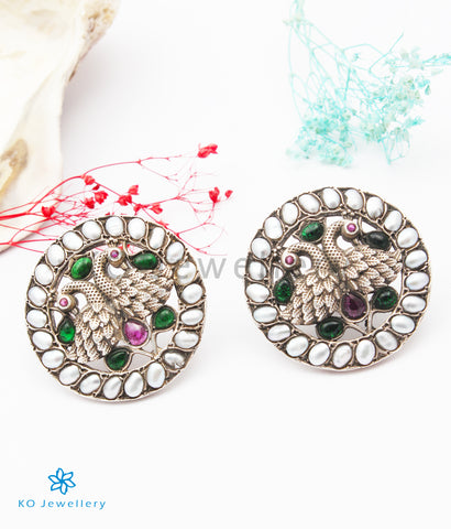 The Sanjh Silver Peacock  Earstuds