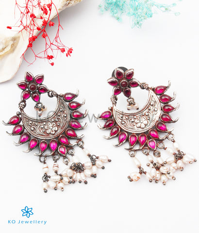The Ajeya Silver Kempu Earrings