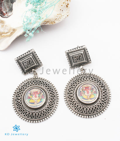 The Vikat Silver Hand painted Ganesha Earrings