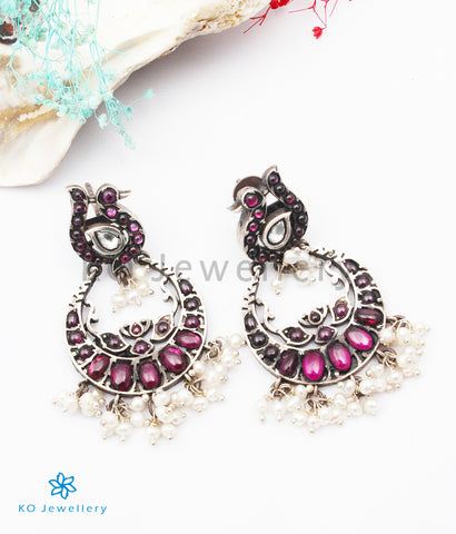 The Asavari Silver Peacock Earrings (Oxidised)